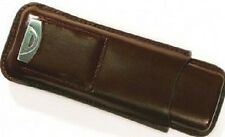 Brown Leather 2 Cigar Case with Build-In Pouch with Cutter