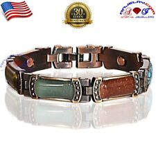 PREMIUM COPPER MAGNETIC GOLF BRACELET MULTI GEM STONE WOMEN ANTIQUE X01