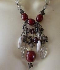 HEAVY CLEAR RED WHITE GLASS BEAD DROP NECKLACE