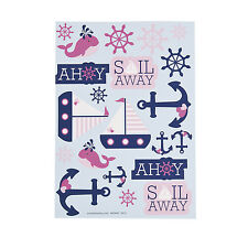 12 Ahoy Matey Baby STICKERS 1st Sailor Birthday Party Favor GIRL Nautical Anchor