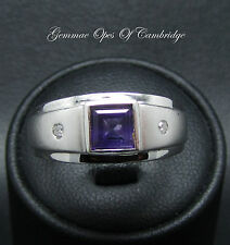 Modern Unisex 9ct Gold Amethyst with Diamond accent Rub Over Ring Size Q 4.3g