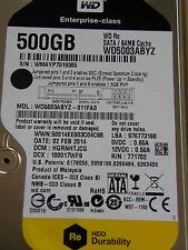 500 GB Western Digital WD5003ABYZ-011FA0 / HGRNHTJCG / FEB 2014 /2060-771702-001