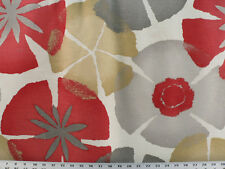 Drapery Upholstery Fabric Cotton Slub Lg. Scale Abstract Petal Print - Brick Red