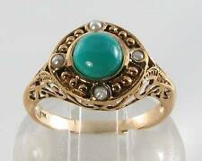 LARGE 9CT GOLD ART DECO  INS PERSIAN TURQUOISE & PEARL RING FREE RESIZE