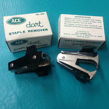 2 Ace Dart Staple Remover No 599 Vintage New Office Black Metal Made in USA 1932