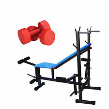 BRANDED FITFLY WEIGHT LIFTING 8 IN 1 BENCH (BLUE) +PVC DUMBBELL 5KG X 2KG=10kg