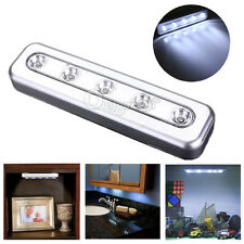 AAA Batteries Under Cabinet Push Tap Touch Stick On Night 5-LED Desk Light Lamp
