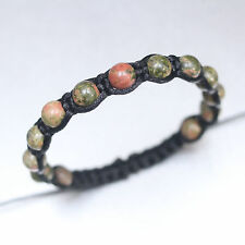 8mm Unakite Stone Black Adjustable Shamballa Boho Bracelet Men Women Healing