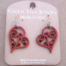 HEART IN VINE Green Tree Jewelry WINE laser-cut wood earrings Made-USA 1042