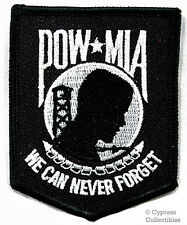 POW-MIA EMBROIDERED PATCH iron-on VIETNAM WAR - BLACK Prisoner of War Emblem