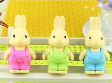 3Pcs Cute Eraser Rabbit Wearing Detachable Kawaii Stationery Office Kid Gift #