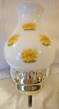 Wall Lamp Sconce White Milk Glass Painted Yellow Floral Globe Electric Works Vtg