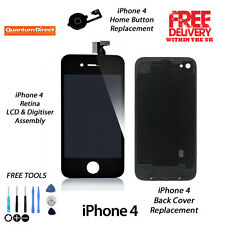 FOR iPhone 4 Complete LCD & Digitiser + Back + Home Button Replacement Kit BLACK