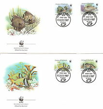 T16012 WWF FDC Antigua & Barbuda Fische fish 1987