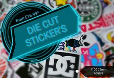 Vinyl Stickers Decals Labels custom printed and cut to shape x100