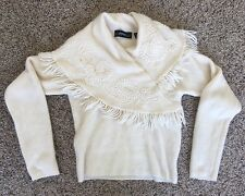 Linda Allard for Ellen Tracy Mohair Sweater - Fringed Wrapped Cape Neck - Sz L