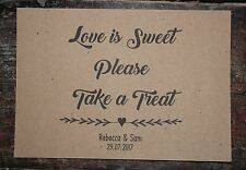 PERSONALISED CANDY BAR SIGN-LOVE IS SWEET PLEASE TAKE A TREAT-A5 KRAFT CARD