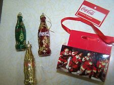 COCA COLA MINIATURE REAL GLASS BOTTLE 4 PC ORNAMENT SET NEW GOLD RED GREEN