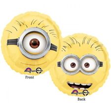 """DESPICABLE ME FOIL HELIUM BALLOON DOUBLE SIDED DESIGN 17"""" MINION BIRTHDAY GIFT"""