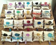 10 WHOLESALE AGATE CRYSTAL GEM DRUZY DRUSY BEAD BRACELET STACK SETS JEWELRY LOT