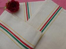 VINTAGE FRENCH UNUSED LINEN METIS TORCHONS TEA TOWELS RED GREEN & YELLOW STRIPES
