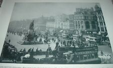 1892 Print MANCHESTER ENGLAND Piccadilly Street Duke of Wellington Statue City