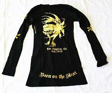 Christian Audigier SMET Women T-Shirt Black Long Sleeve with Gold Accent- Medium