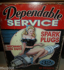 DEPENDABLE SERVICE/ SPARK PLUGS/ PIN-UP GIRL  METAL WALL SIGN 40X30CM, USA