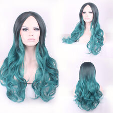New Fashion Women Ombre Dark Green Long Wavy Synthetic Two Tone For Hair  Wig