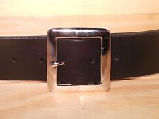 Silver Square 2 Inch Leather Mens Womens Jean Belt Waist Size Measurement Any