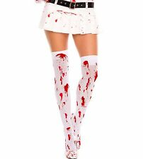 Blood Massacre Print White Tights Punk Goth Black Rock Dark Halloween 4551