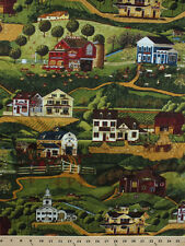 Yesteryear Town Buildings Country Cotton Fabric Print by the Yard D772.30