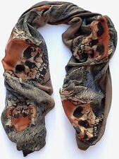 NEW Large Fashion Brown Orange Skull Punk Womens Long Scarf Shawl USA SHIP