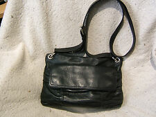 "Vintage Cole Haan Small Black Pebbled Leather Cross Body Handbag - 11.5"" x 7"""