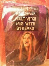 Halloween adult witch black & white wig with streaks. Bnip.