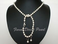 "18"" Inch Set Genuine White Pearl Necklace Earrings Bracelet Cultured Freshwater"