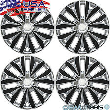 "4 NEW OEM BLACK CHROME 15"" HUB CAPS FOR KIA SUV CAR COUPE CENTER WHEEL COVER SET"