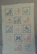 Antique Vintage Red Work Children's Quilt Wall Hanging Lap Embroidered Baby Crib