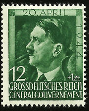 WWII Adolf Hitler 55th Birthday Nazi Occupied Poland Green Mint Stamp