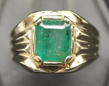 3.79CT NATURAL EMERALD SOLID 10K YELLOW GOLD MENS RING SIZE 10.25 MINED GEM