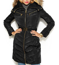 Michael Kors New Hooded Faux-Fur-Trim Belted Down Puffer Coat Size PM #J 141