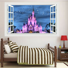 3D Generic Windows Disney Land Princess Girl Kid Castle Wall Decal Decor Sticker