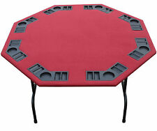 "52"" Octagon Burgundy Felt Poker Card Game Table With Folding Steel Legs 8 Player"