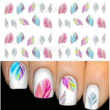 1 Sheet Coloré Plume Pattern Nail Art Water Decals Transfers Sticker #1724