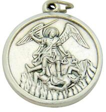 """MRT St Michael Oxidized Silver Medal Police Protector Pendant Gift 3/4"""" Italy"""
