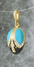 Egg Pendant with Blue and Black Enamel,Gold Plated SS with Swarovski Crystals