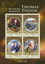 Sierra leone 2016 neuf sans charnière thomas edison 85th memorial 4v ms science invention timbres