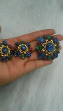 vtg. Trifari blue green purplec gripoix gold  tone pin  clip on earrings set