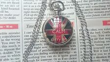 MINI Silver Steel Pocket Watch Necklace Pendent KEEP CALM UNION JACK VelvetPouch