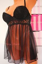 NWT VICTORIA'S SECRET Lingerie Fly-away Tulle VS Babydoll Push-up 34C Black